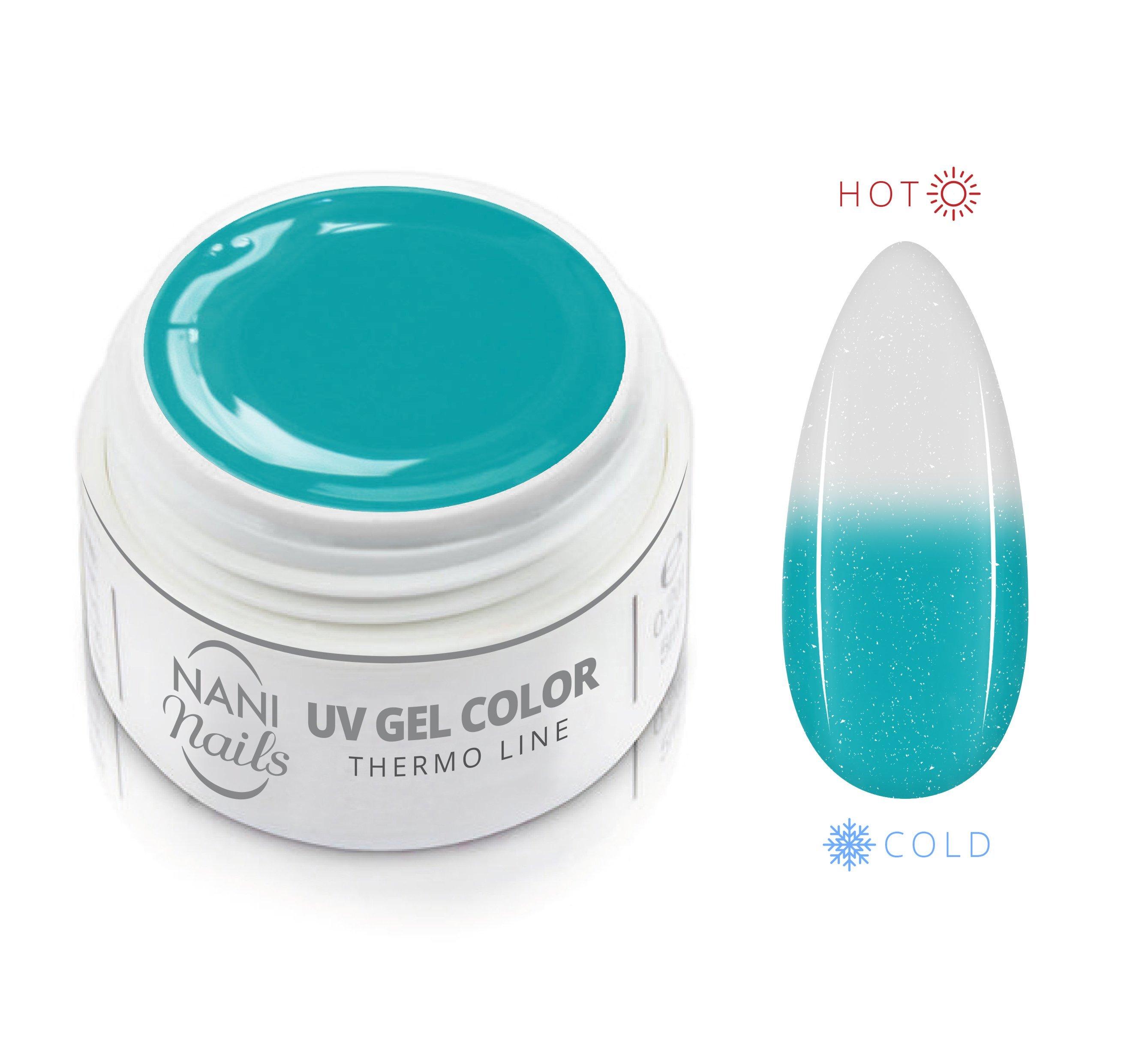 Gel UV NANI Termic Glitter 5 ml - Turquoise White Glitter