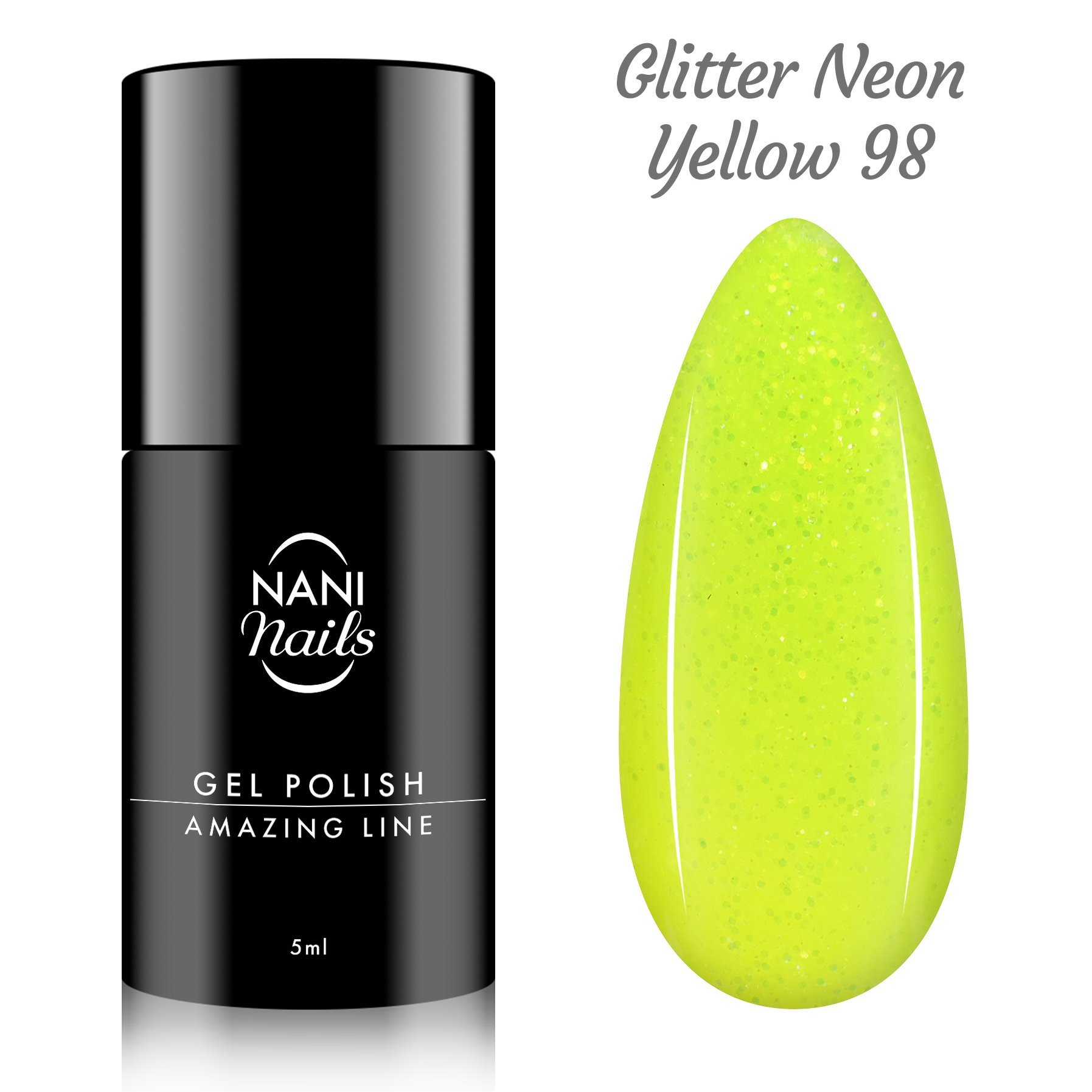 Oja semipermanenta NANI Amazing Line 5 ml - Glitter Neon Yellow